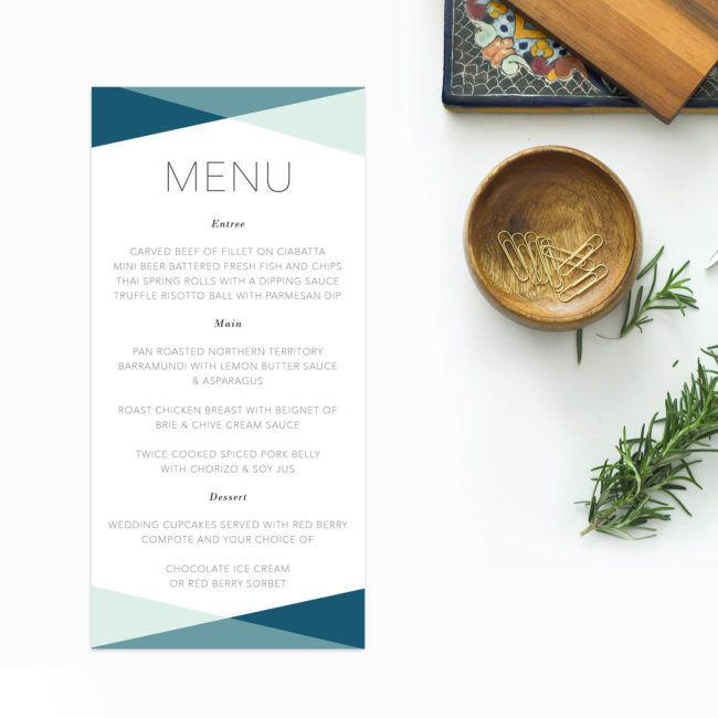 Turquoise Green Blue Minimal Clean Modern Wedding Menus