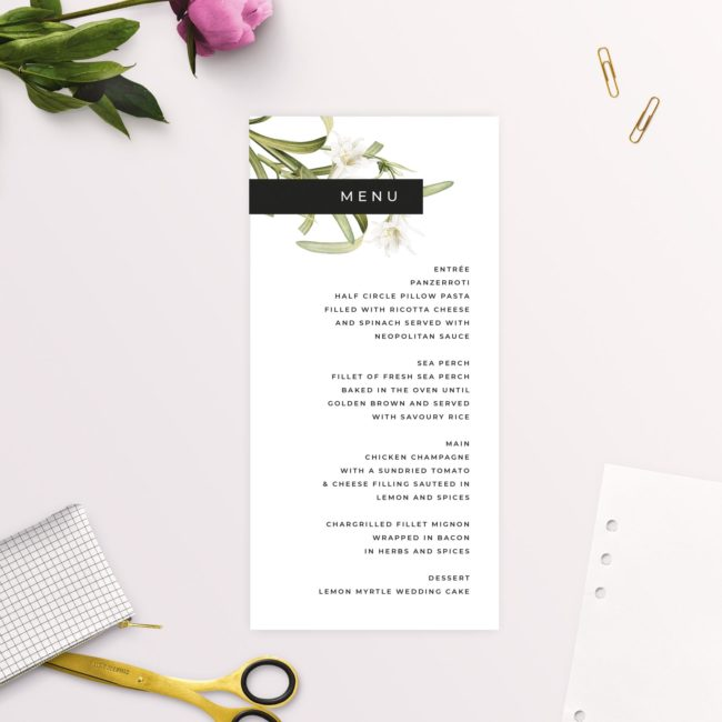 Lily Green White Black Modern Vintage Botanical Wedding Menus