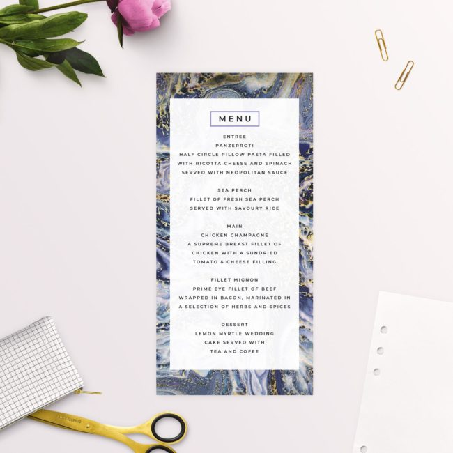 Blue Purple and Gold Marbled Wedding Menus