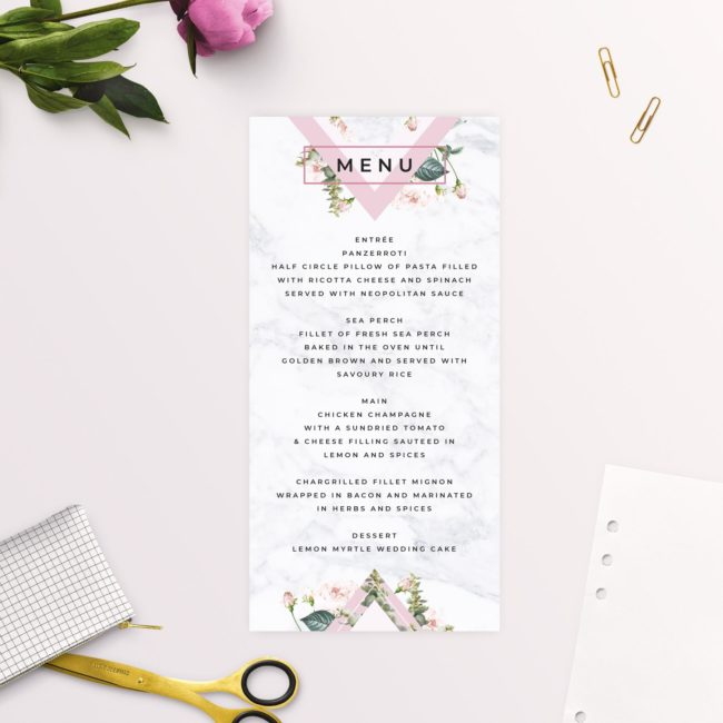 Modern Floral Botanical Pink Blooms Wedding Menus