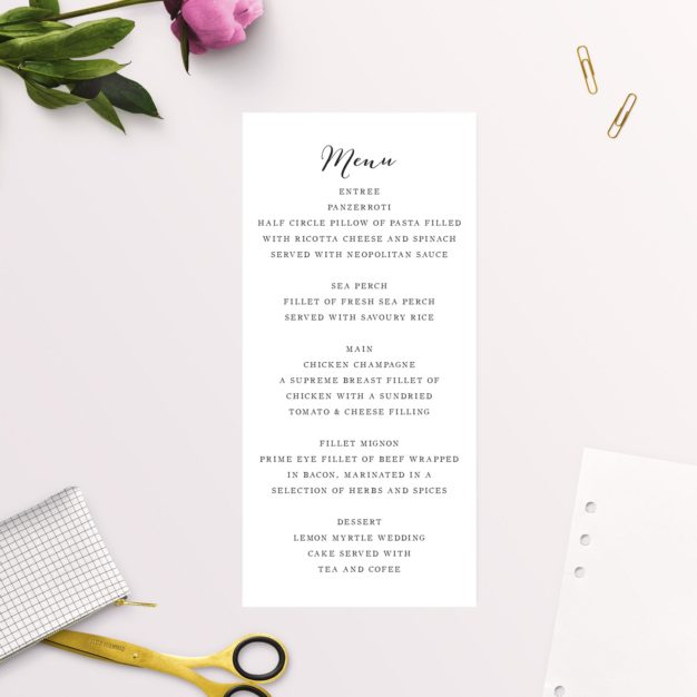 Clean Pretty Calligraphy Script Wedding Menus
