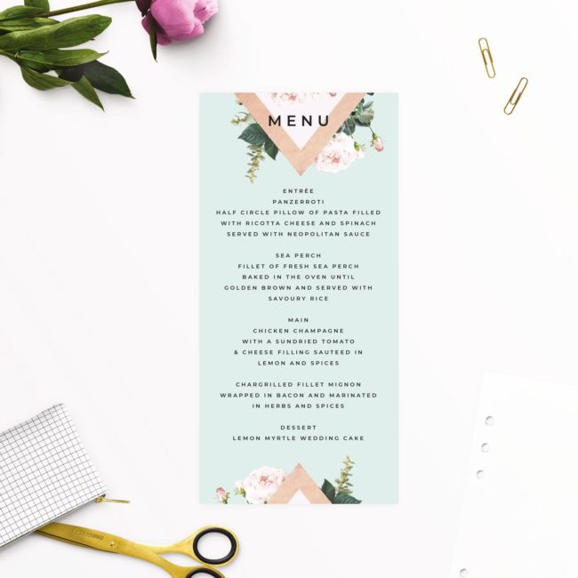 Floral Green Mint and Roses Pastel Wedding Menus