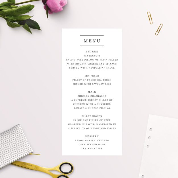 Simple Writing White Wedding Menus