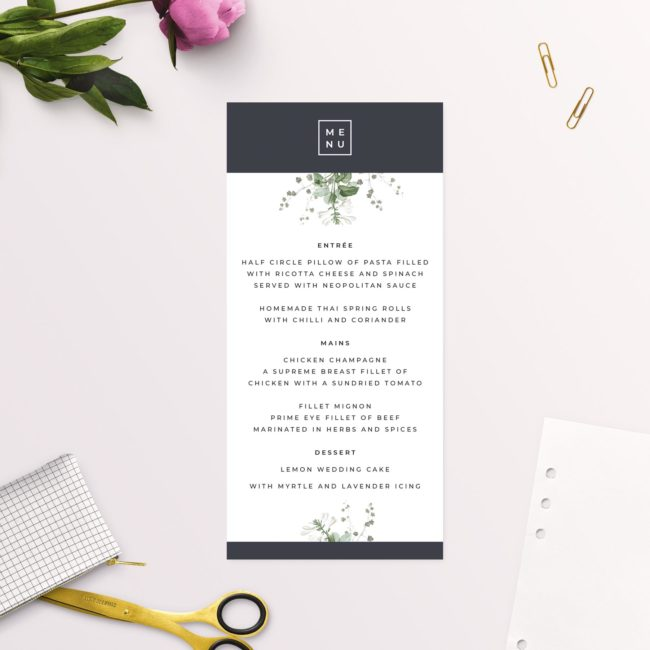 Green White Navy Modern Botanical Wedding Menus