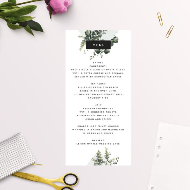 Natural Modern Chic Contemporary Greenery Botanical Wedding Menus