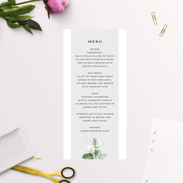Elegant Botanical Grey White Green Wedding Menus