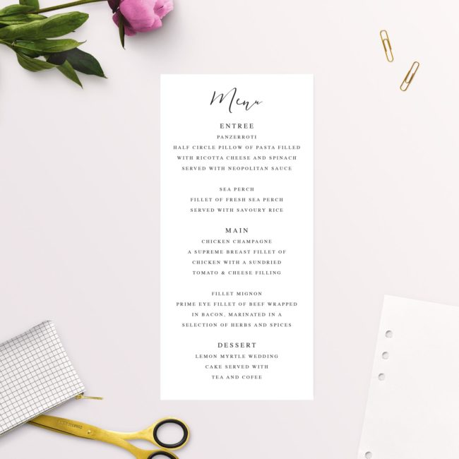 Elegant Calligraphy Modern Wedding Menus