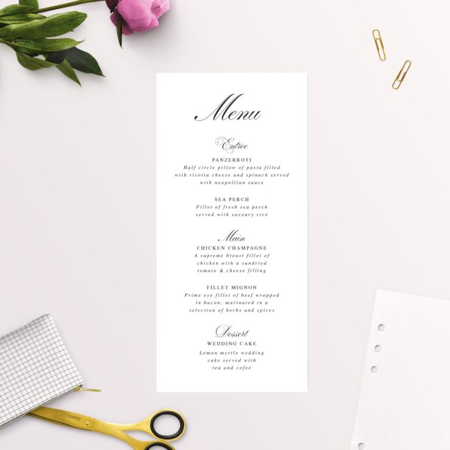 Beautiful Formal Script Calligraphy Wedding Menus