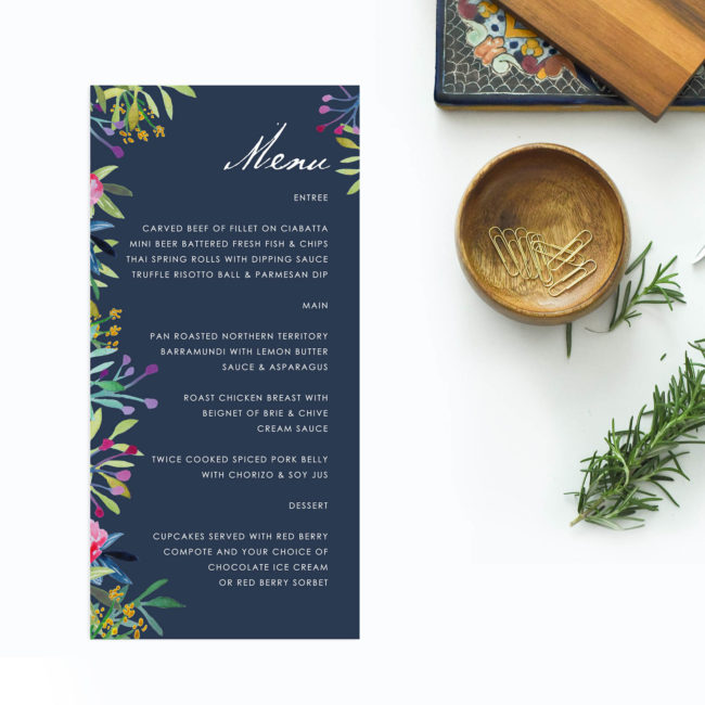 Floral Pink Navy Wedding Menus