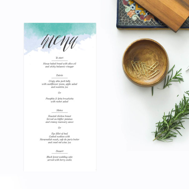 Turquoise Beach Wedding Menus