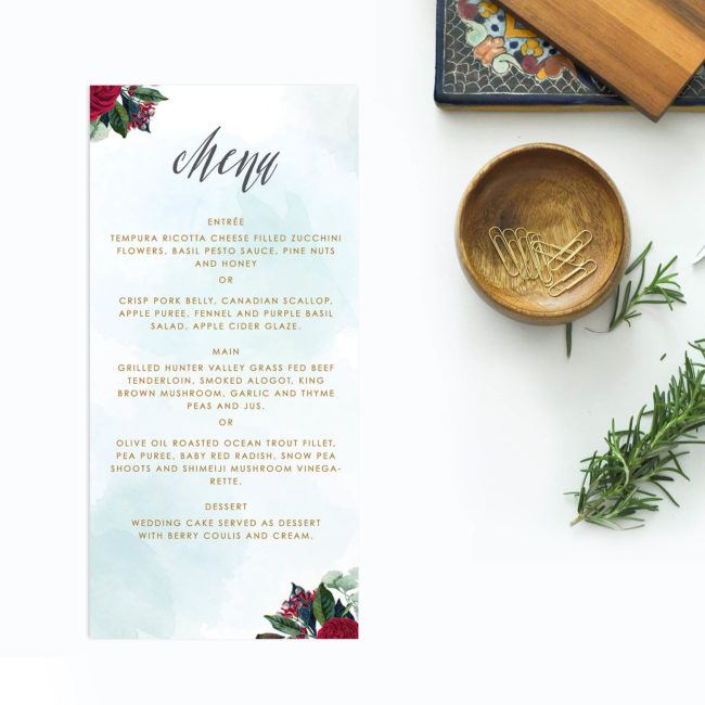 Ruby Red Rose Burgundy Floral Wedding Menus