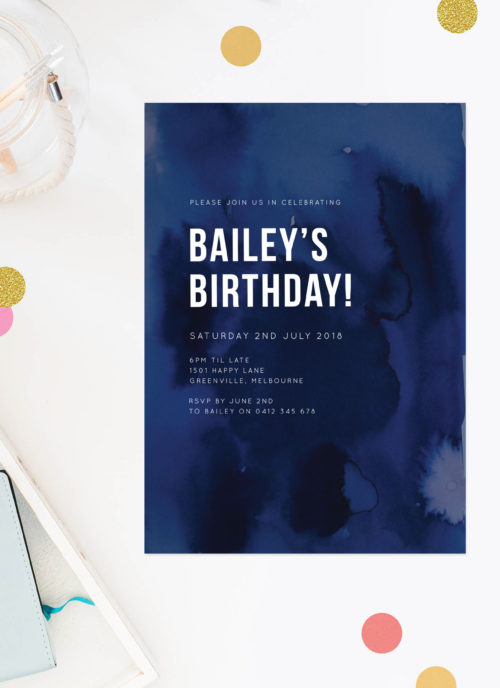 Navy Blue Watercolour Ink Birthday Invitations - Navy Ink Splotches Birthday Invitations Australia Melbourne Sydney