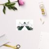 Deep Forest Green Botanical Clover Wedding Name Place Cards Folded Flat