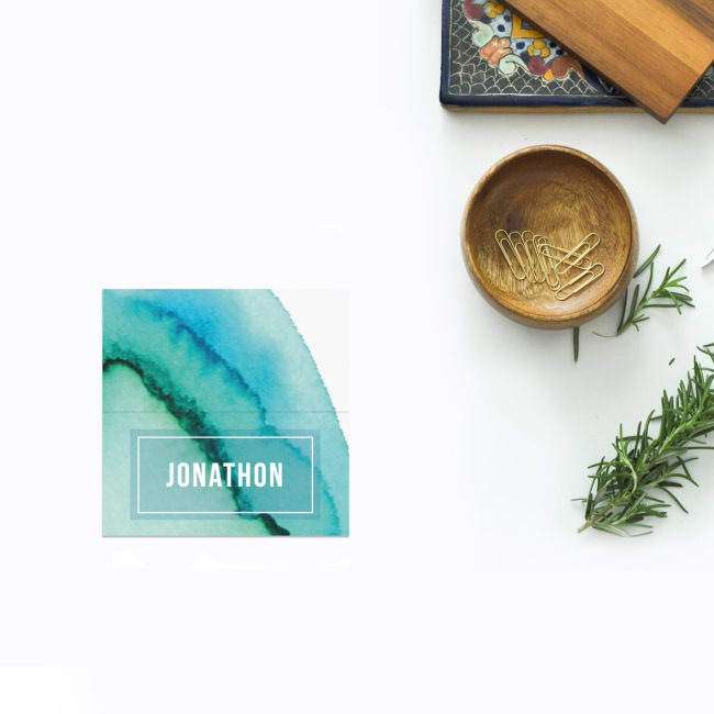 Turquoise Abstract Wedding Name Place Cards