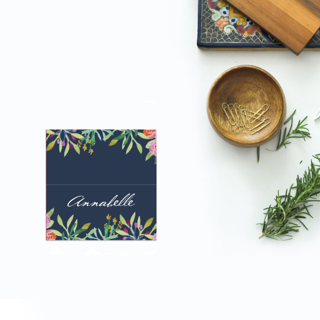 Floral Navy Wedding Name Place Cards