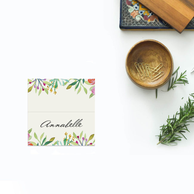 Forest Foliage Watercolour Floral Wedding Name Place Cards