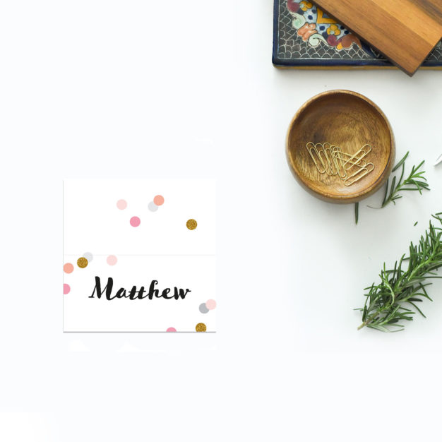 Confetti Wedding Name Place Cards