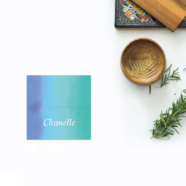Turquoise Beach Wedding Name Place Cards