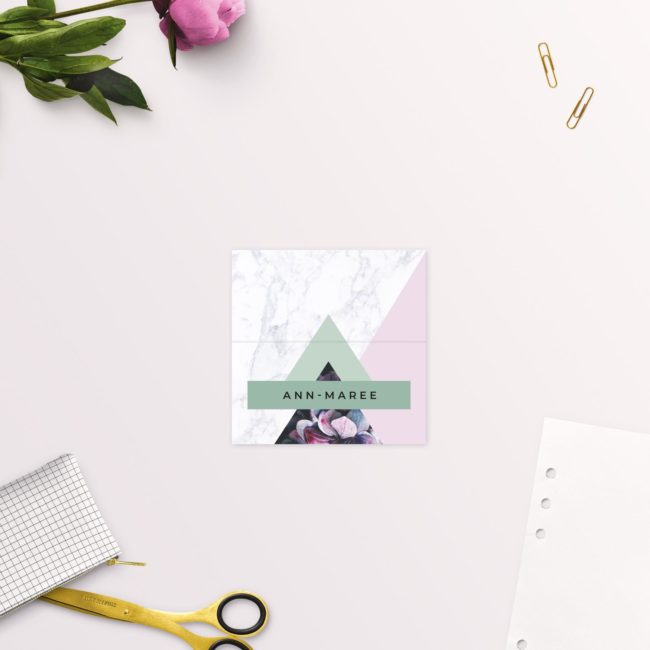 Modern Geometric Marble Hydrangea Floral Wedding Name Place Cards