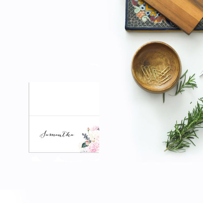 Elegant Dahlia Pastel Floral Wedding Name Place Cards