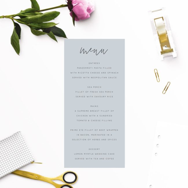 Dusty Blue Minimal Wedding Menus