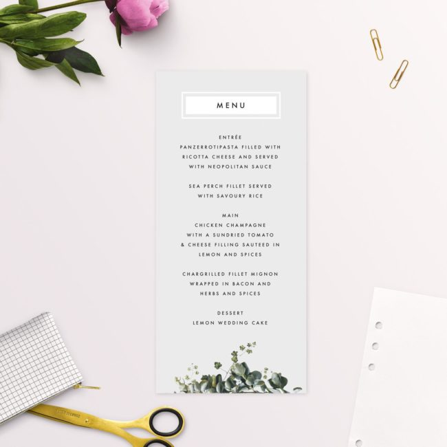 Modern Minimal Grey Green Botanical Wedding Menus