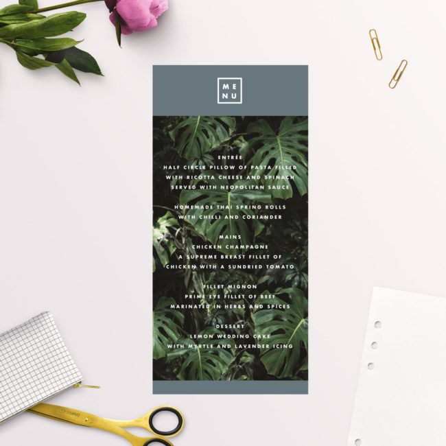 Our Modern Monstera Tropical Grey Blue Wedding Menus feature a stunning modern design with tropical monstera leaves and stylish grey blue block colour.