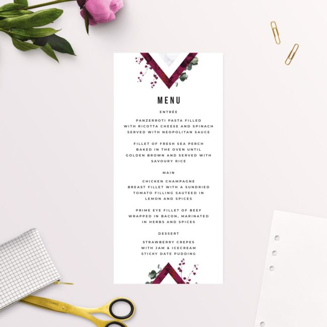 Burgundy Crimson Botanical Greenery Wedding Menus