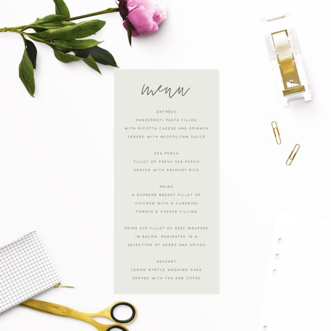 Pale Olive Green Minimal Wedding Menus