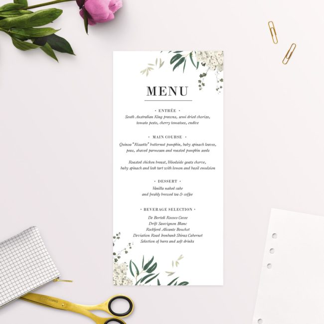 Classic Gum Tree Eucalyptus Leaves Native Wedding Menus