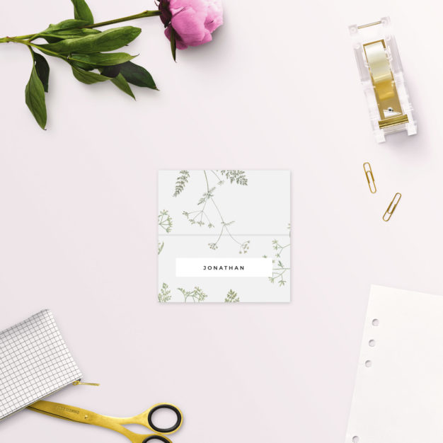 Pale Grey Modern Botanical Wedding Name Place Cards