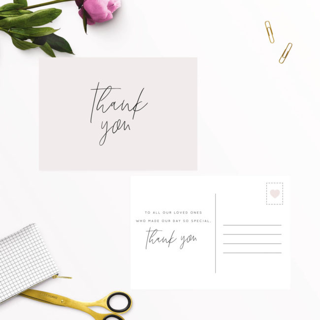 Blush Pink Minimal Thank You Postcards