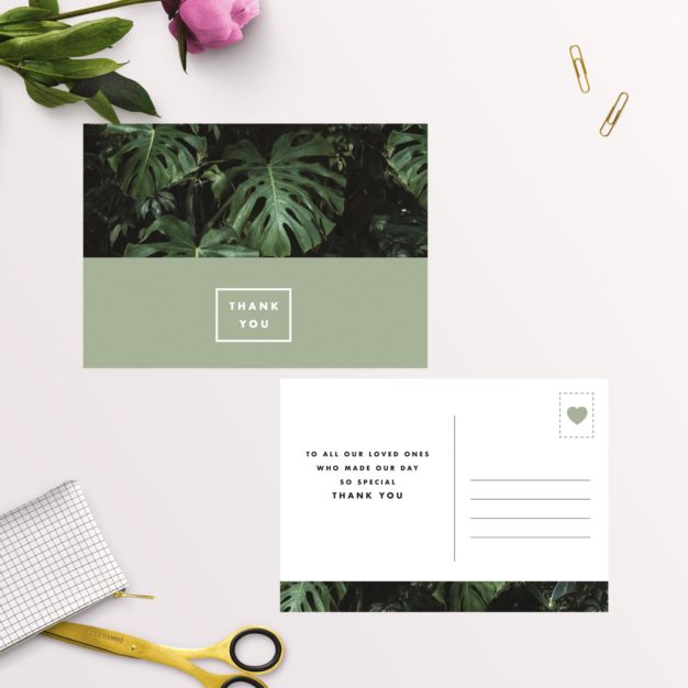 Modern Monstera Tropical Olive Green Wedding Thank You Postcards