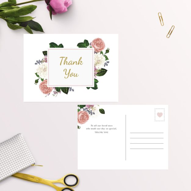 Romantic Blush Roses Elegant Wedding Thank You Postcards