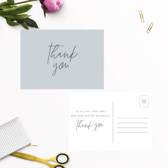 Dusty Blue Minimal Wedding Thank You Postcards
