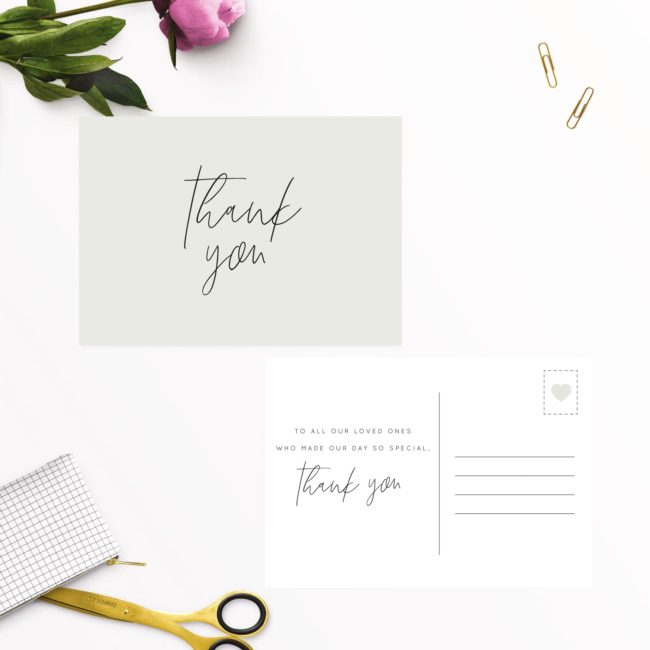 Pale Olive Green Minimal Wedding Thank You Postcards