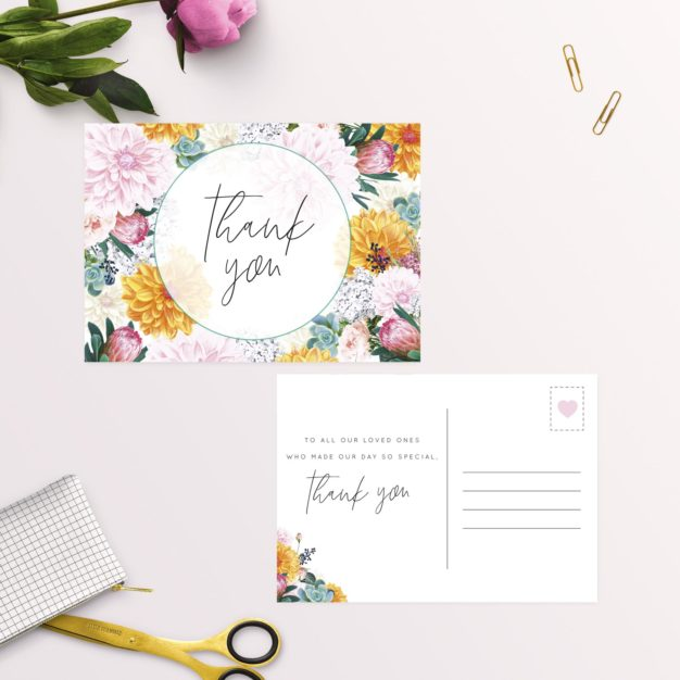 Boho Native Floral Succulent Wedding Thank You Postcards