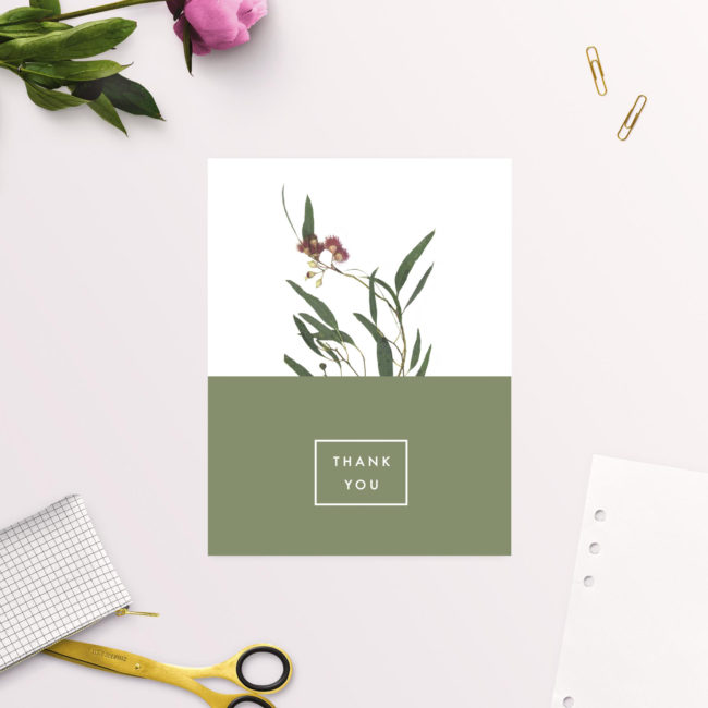 Modern Eucalyptus Wattle Native Wedding Thank You Cards