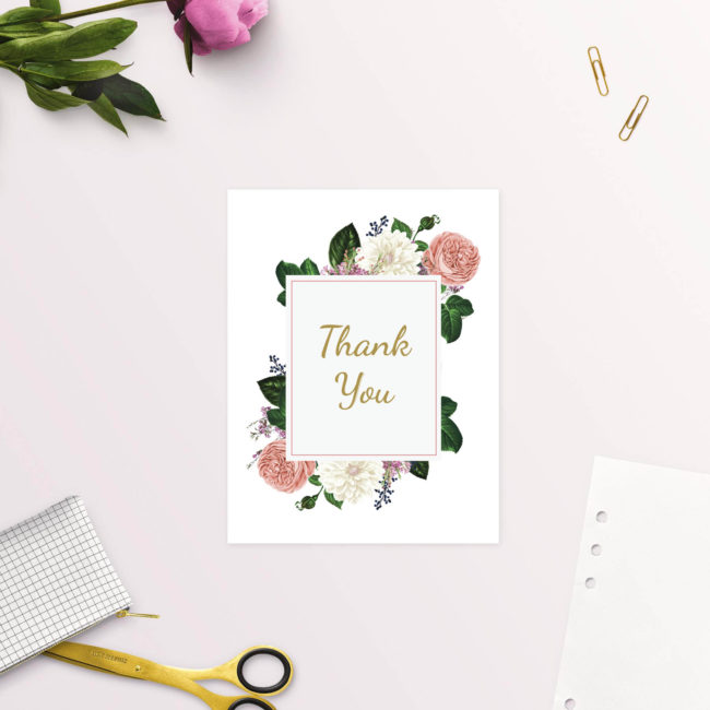 Romantic Blush Roses Elegant Wedding Thank You Cards