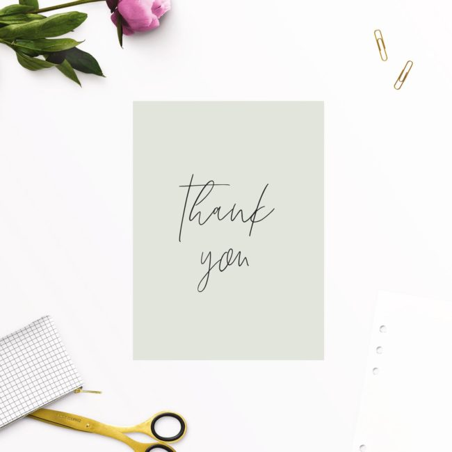 Pale Olive Green Minimal Wedding Thank You Cards