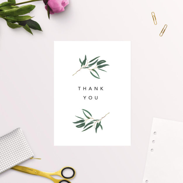 Simple Elegant Eucalyptus Wedding Thank You Cards