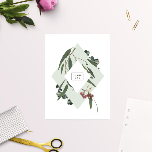 Eucalyptus Leaves Native Botanical Wedding Thank You Cards