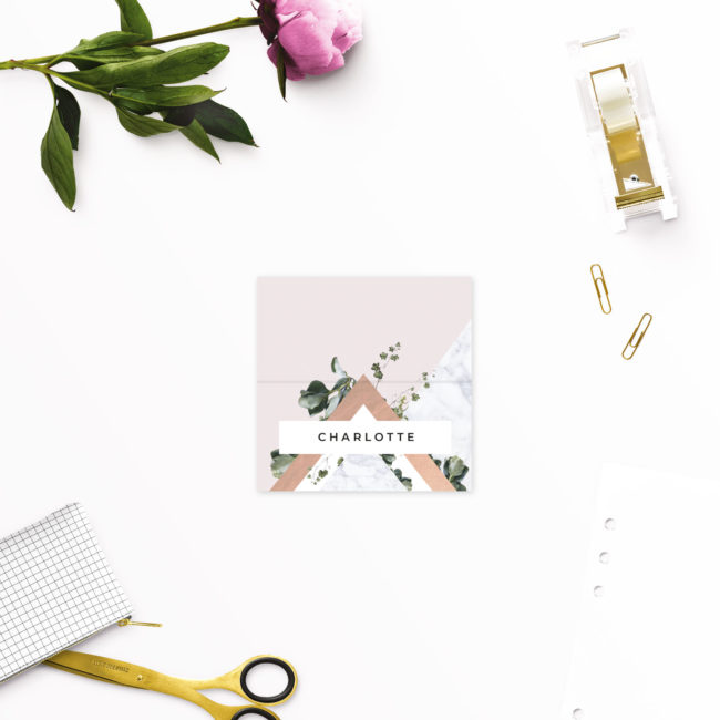 Contemporary Chic Modern Geometric Wedding Name Place Cards