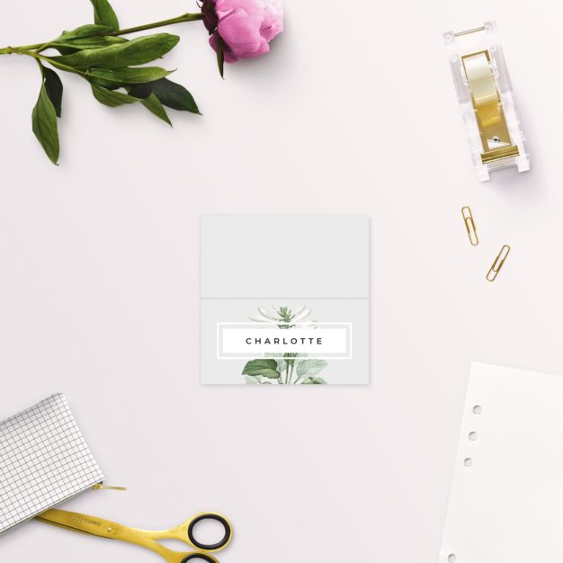 Elegant Botanical Grey White Green Wedding Name Place Cards