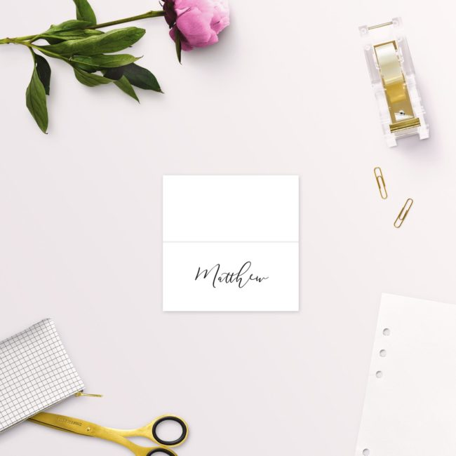Elegant Calligraphy Modern Wedding Name Place Cards