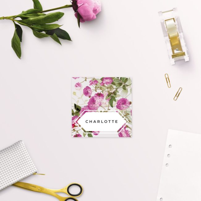 Pink Green Modern Botanical Wedding Name Place Cards