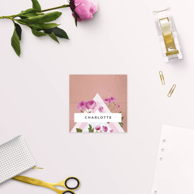 Floral Marble Pink Rose Gold Wedding Name Place Cards