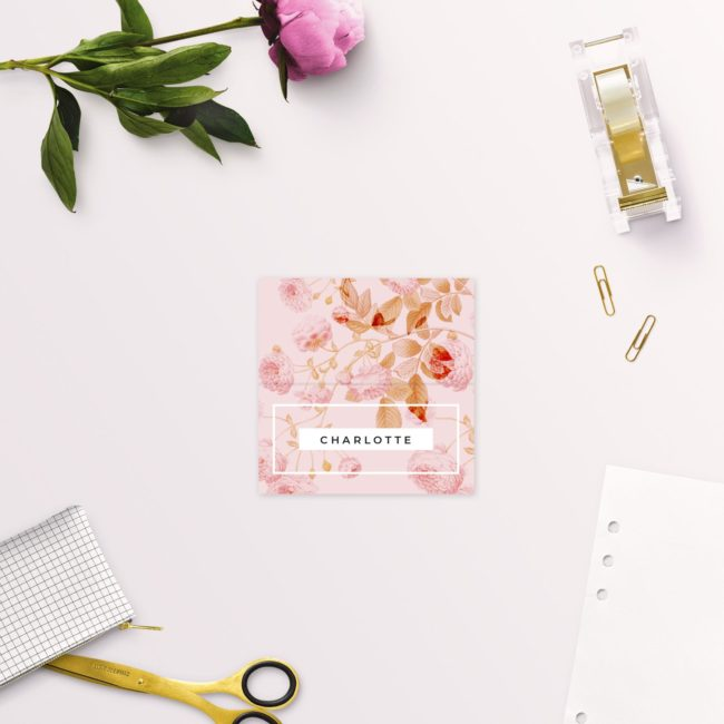 Light Pink Modern Botanical Wedding Name Place Cards