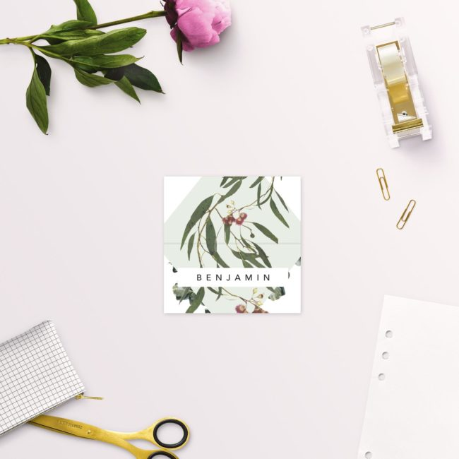 Eucalyptus Leaves Native Botanical Wedding Name Place Cards Folded