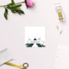 Deep Forest Green Botanical Clover Wedding Name Place Cards Folded